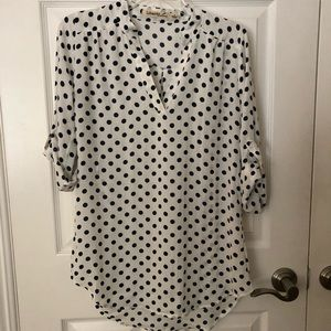 White blouse with navy polka dots by Liberty Love
